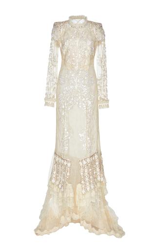 Medium roberto cavalli neutral mock neck evening gown
