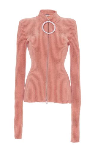 Medium emilio pucci pink ribbed rhinestone zipper sweater