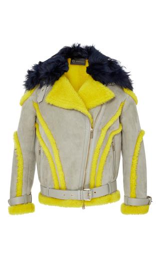Medium versace grey shearling biker jacket