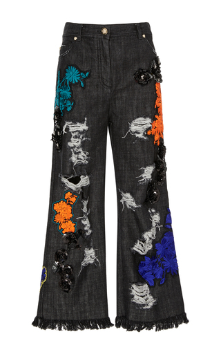 Medium versace multi distressed floral embellished jean
