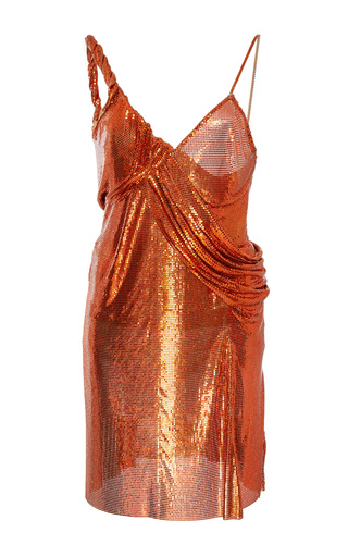 Medium versace orange metal mesh slip dress