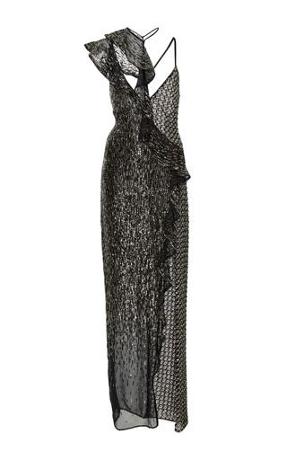 Medium versace black beaded georgette asymmetrical gown