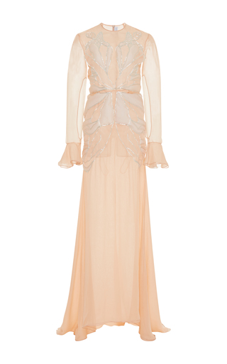 Medium francesco scognamiglio pink butterfly long sleeve gown