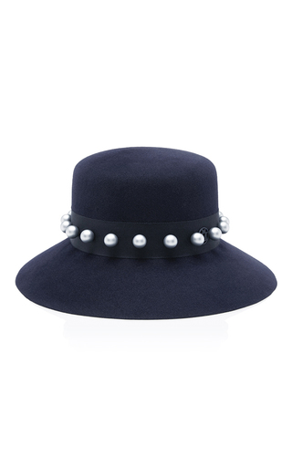 Medium maison michel navy kendall felt hat with pearls