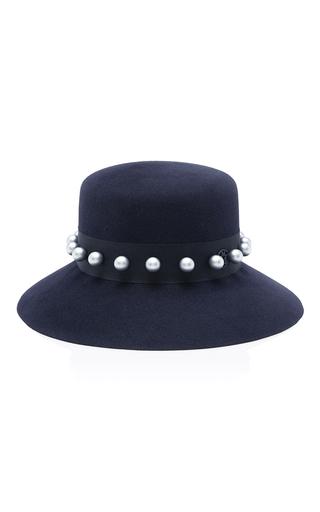 Medium maison michel navy kendall felt hat with pearls