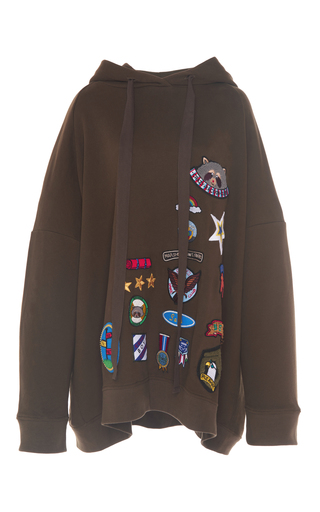 Medium mira mikati brown scout patch oversized hoodie