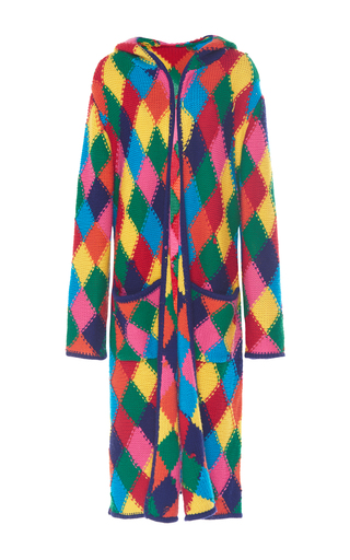 Medium mira mikati multi diamond stitch long knit cardigan