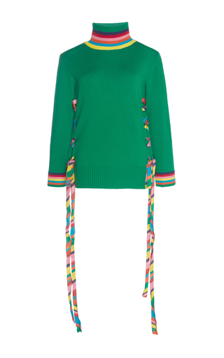 Medium mira mikati green ribbon and eyelet turtleneck knit