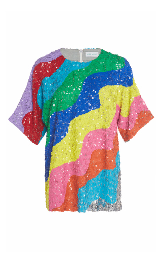 Medium mira mikati multi rainbow wave sequin top