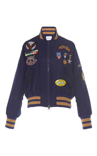 Medium mira mikati navy scout patch military bomber jacket