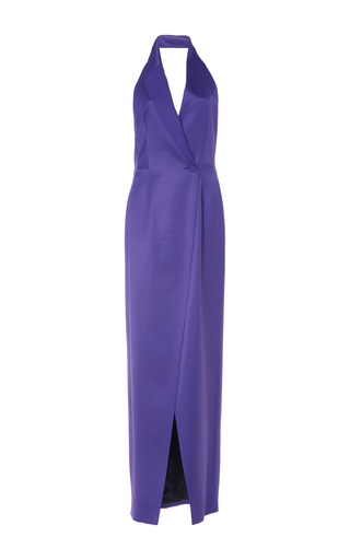Medium pallas purple purple baccara halter lapel dress