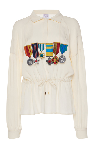 Medium stella jean white cinched medallion blouse