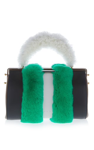 Medium marni green fur wrapped top handle bag 3