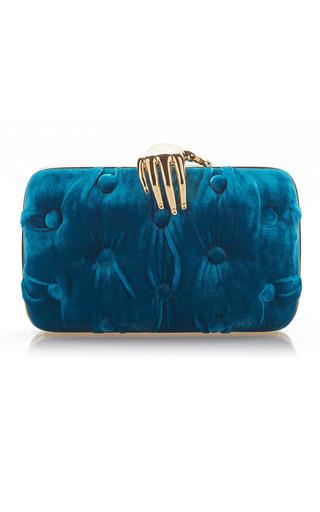 Medium benedetta bruzziches blue carmen velvet clutch with hand