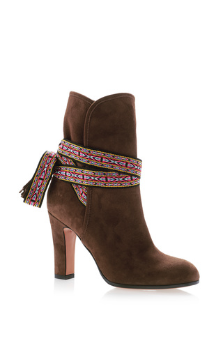 Medium etro brown bootie with ribbon detail