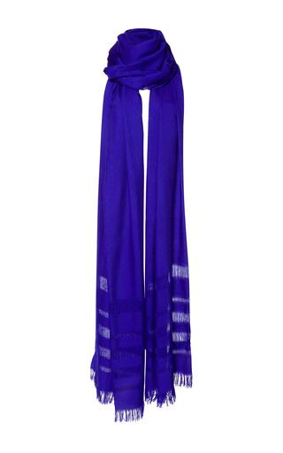 Medium etro blue fringe scarf