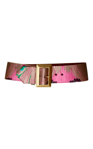Medium etro pink floral brocade belt