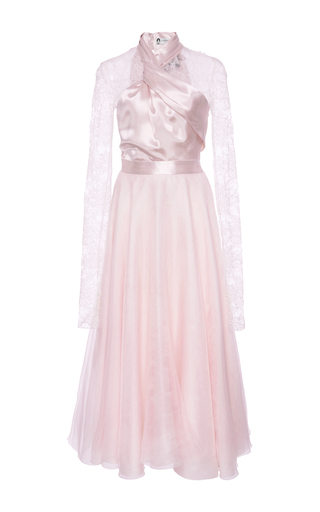 Medium lanvin pink cross draped ballerina dress with lace sleeves