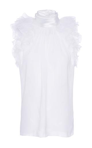 Medium lanvin white sleeveless lace blouse