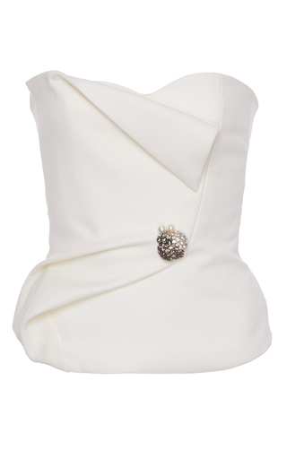 Medium lanvin white strapless top with jeweled broche detail
