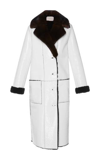 Medium christopher kane white patent shearling mid length coat