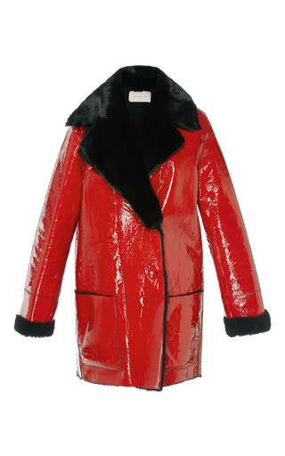 Medium christopher kane red hip length patent shearling coat