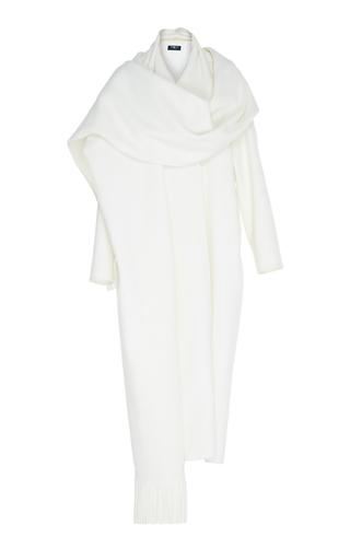 Medium paule ka white double faced wool coat with fringe scarf