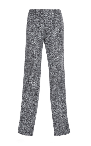 Medium paule ka black white tweed slim trousers