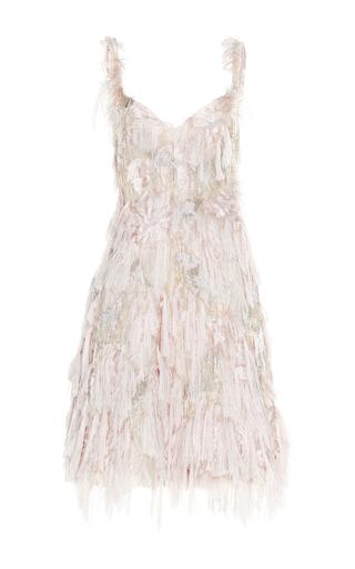 Medium paule ka neutral patchwork jacquard fringe dress