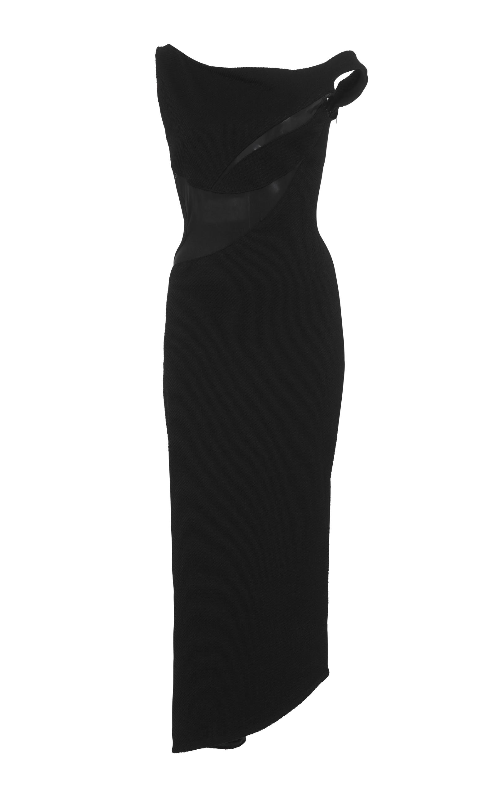 Maticevski MESH-PANELED STRETCH-CREPE DRESS