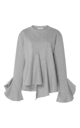 Medium goen j grey ruffle sweatshirt