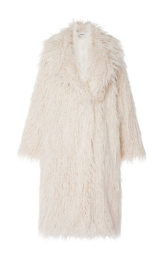 Medium goen j white oversized faux fur coat