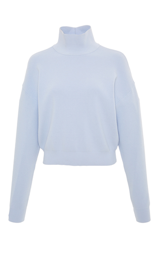 Medium carven blue long sleeve mock neck sweater