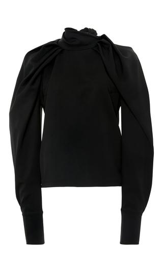 Medium carven black pleated dolman sleeve top