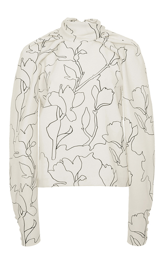 Medium carven white printed dolman sleeve top