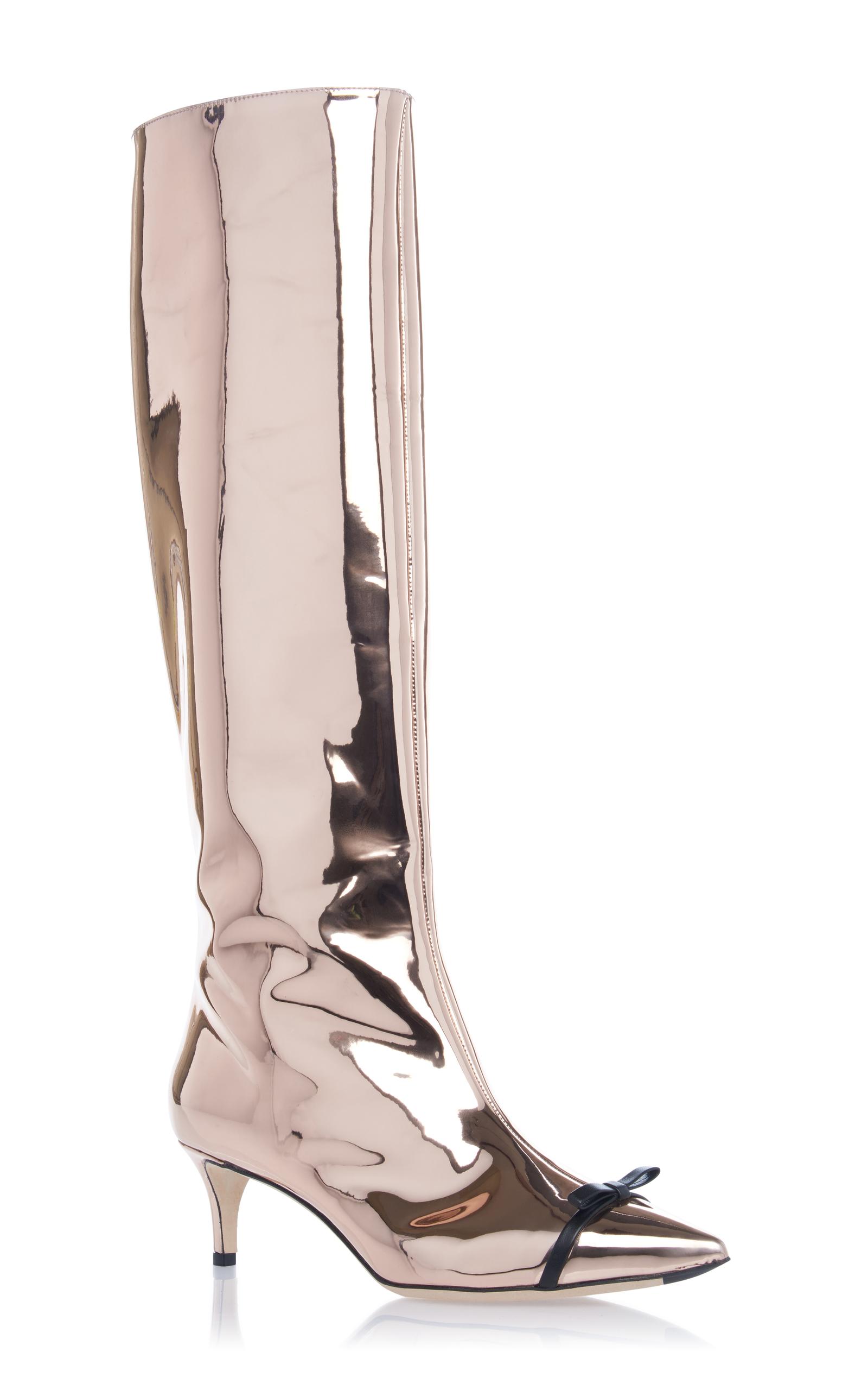 1f0abee854 Pink Gold Metallic Kitten Heel Boot by Marco de Vincenzo | Moda Operandi