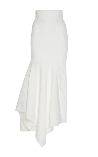 Medium wanda nylon white asymmetric volume skirt
