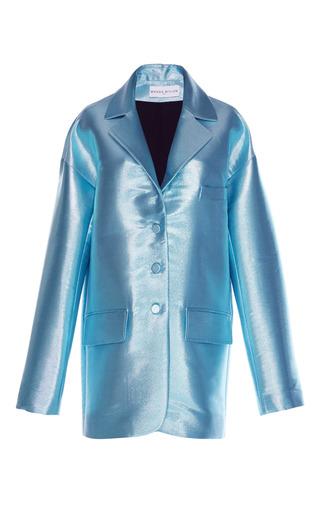Medium wanda nylon blue silk lame smoking blazer
