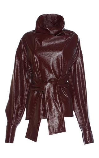 Medium wanda nylon burgundy turtleneck blouse