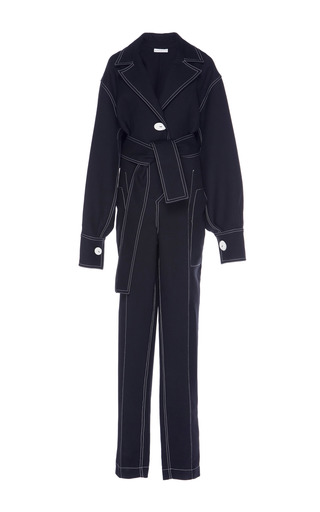 Medium wanda nylon black trench jumpsuit