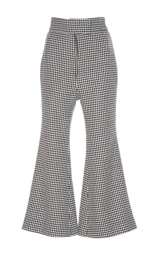 Medium wanda nylon black white houndstooth check flare pants