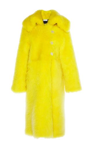 Medium wanda nylon yellow shearling long coat