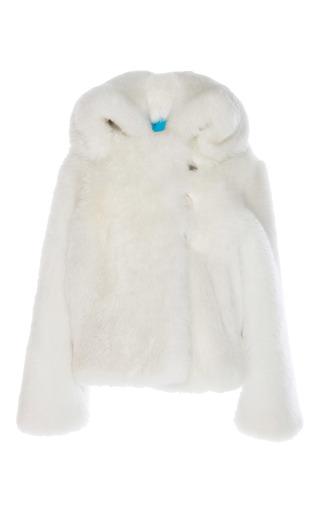 Medium wanda nylon white shearling coat
