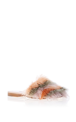 Medium manolo blahnik neutral pelosusfe feather flat