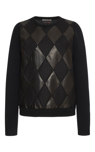Medium rochas black round neck patchwork knit