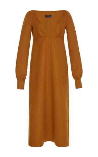 Medium rochas orange long sleeve v neck dress