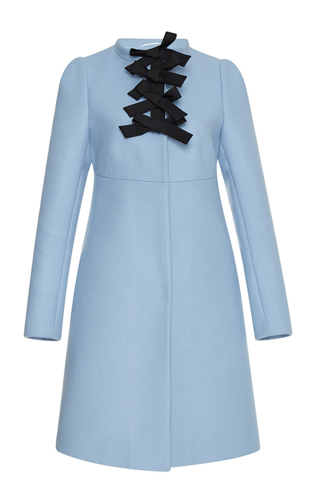 Felt Coat With Bow Details By Rochas Moda Operandi