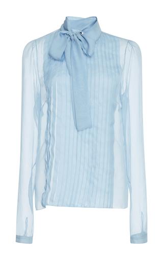 Medium rochas blue chiffon shirt with bow
