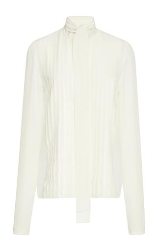 Medium rochas white long sleeve pleated blouse