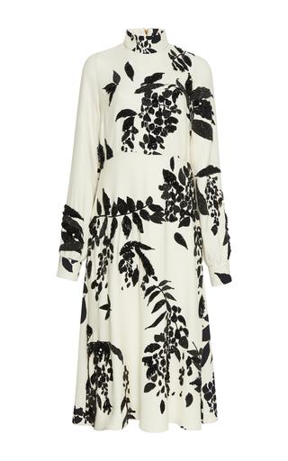 Medium rochas white floral print long sleeve dress